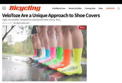 Bicycling Magazine Review of veloToze Shoe Covers - Website Screen Capture