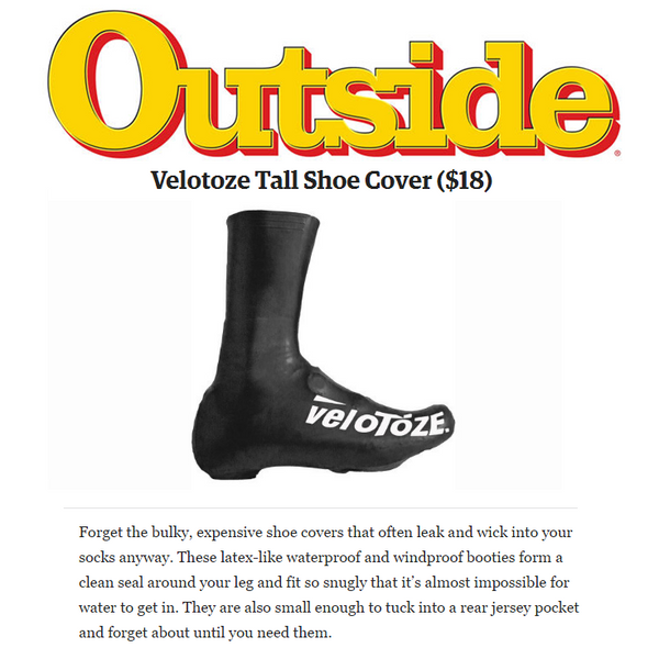 Outside Magazine Includes veloToze Shoe Covers in Top Bike Accessories List
