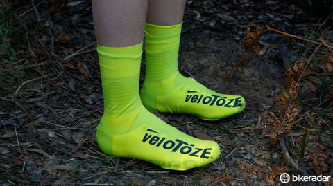 high vis yellow veloToze cycling shoe covers