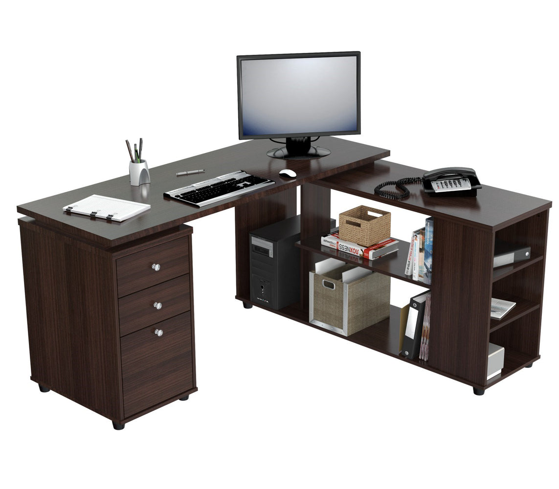 Inval Imported Wooden Computer L-Shape Workstation Desk with Storage Drawers