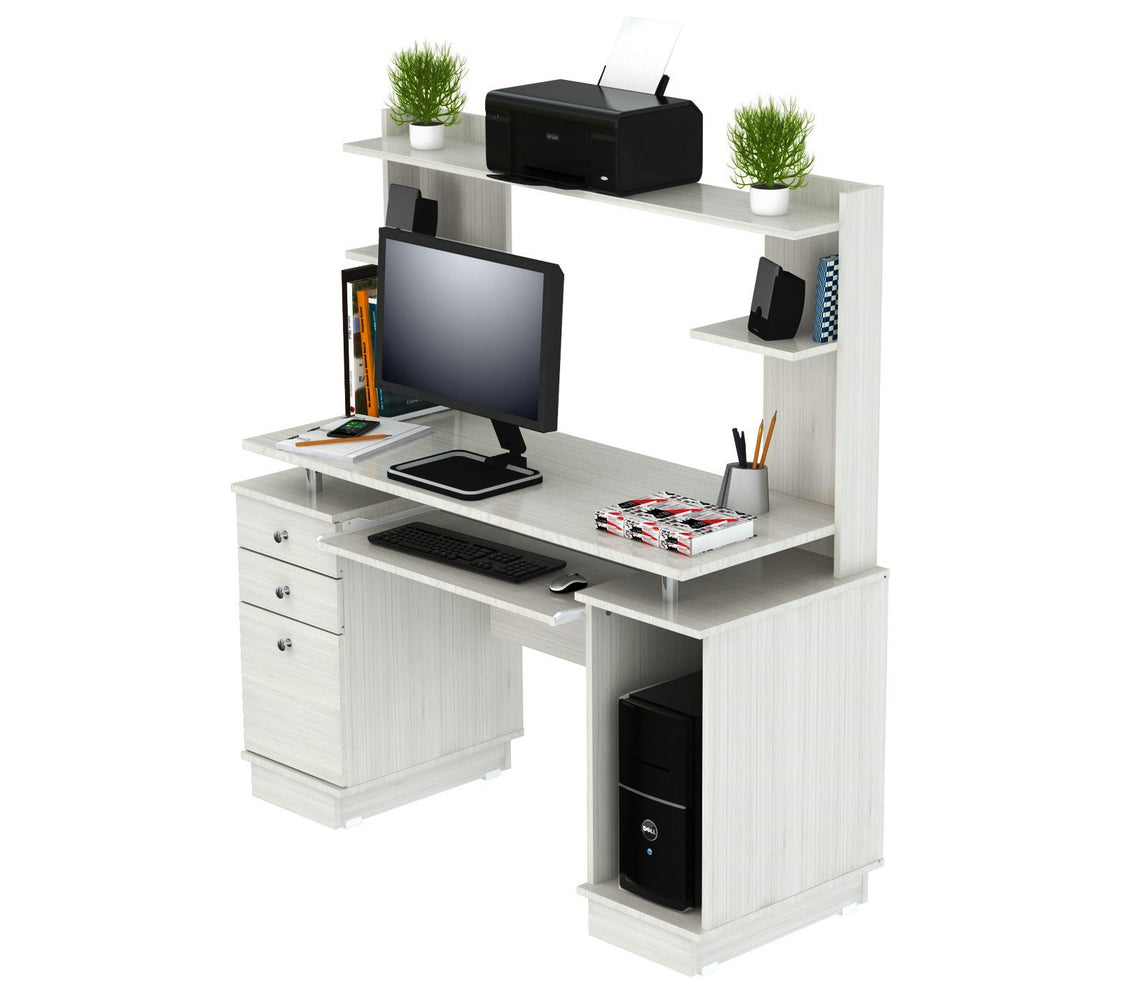 Inval Computer Work center/Credenza with Hutch - Laricina White
