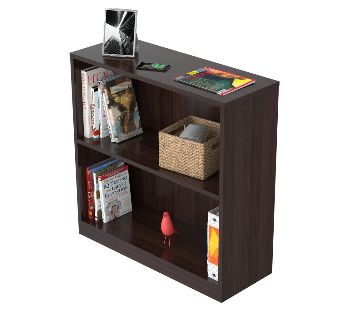 Inval Imported Modern Wooden 2-Shelf Bookcase/Hutch in Espresso