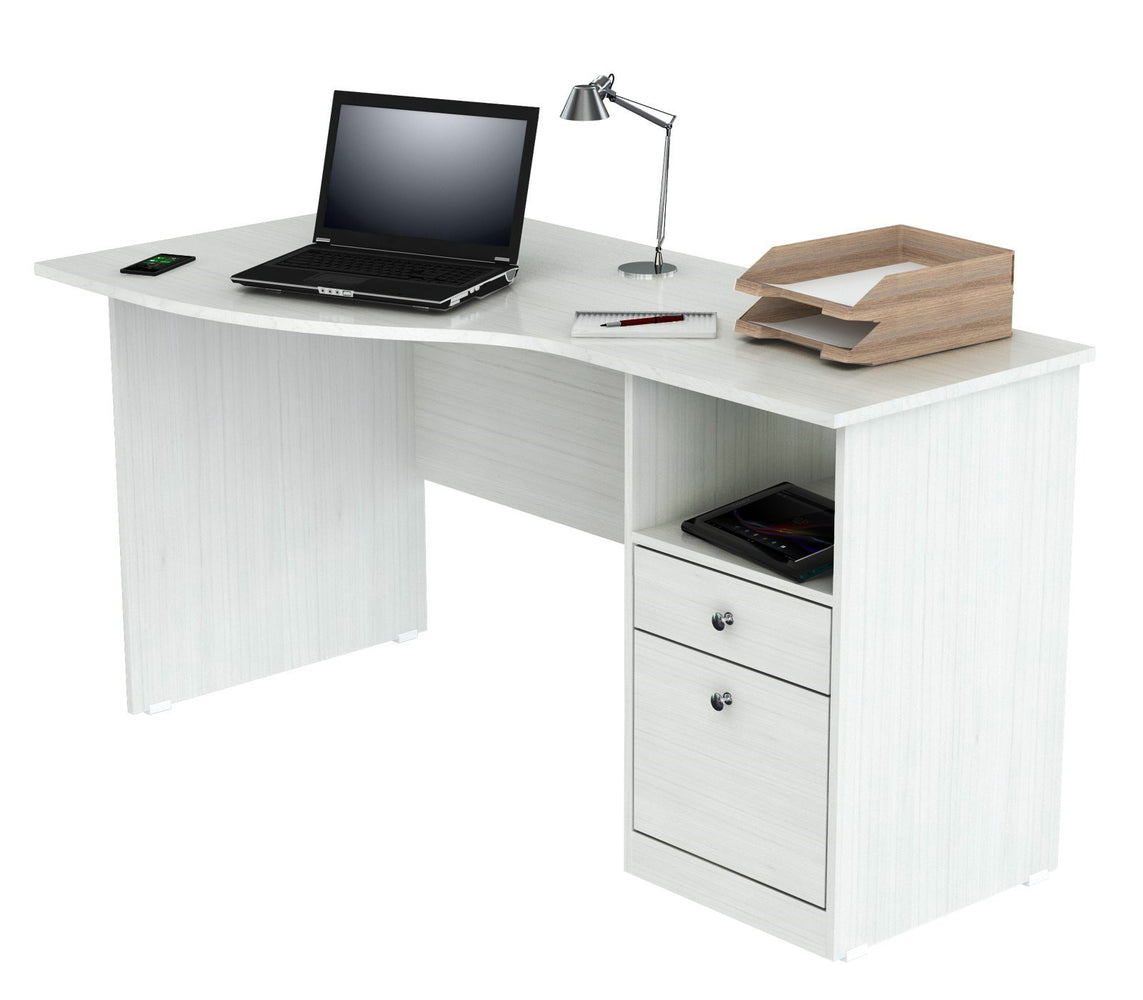 Inval Imported Wooden Modern Curved Top Computer Desk with Storage Drawers - White