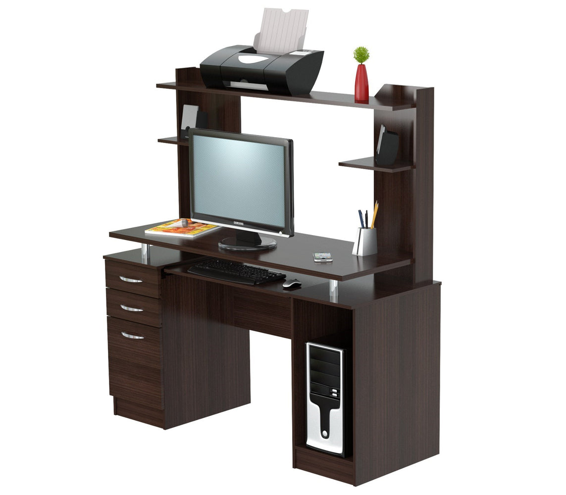 Inval Credenza/Computer Work center with Hutch - Espresso Wengue