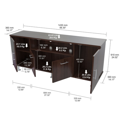 Inval 60 Inches Flat-Screen TV Stand - Espresso Wengue