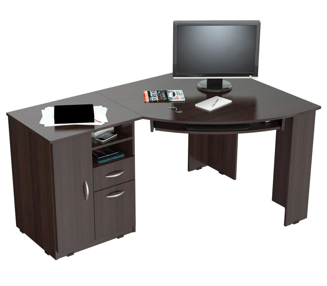 Inval Imported Wooden Computer Workstation Desk with Storage Drawers