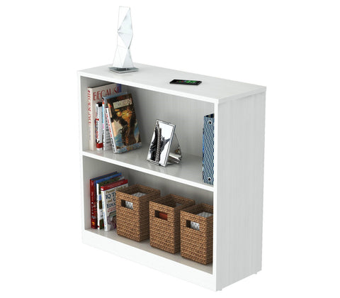 Inval Imported Modern Wooden 2-Shelf Bookcase/Hutch in White