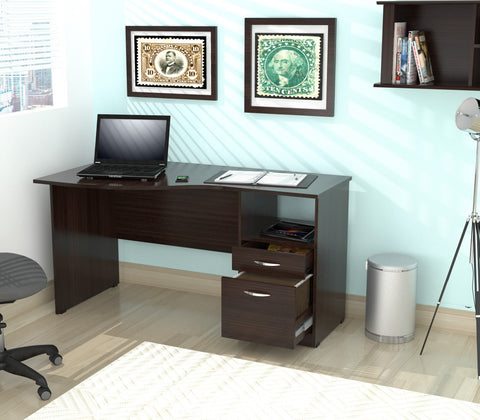 Inval Imported Wooden Modern Curved Top Computer Desk with Storage Drawers