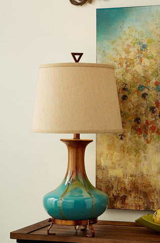 Urban Designs Emma Turquoise & Golden Brown Glazed Ceramic Tabletop Lamp