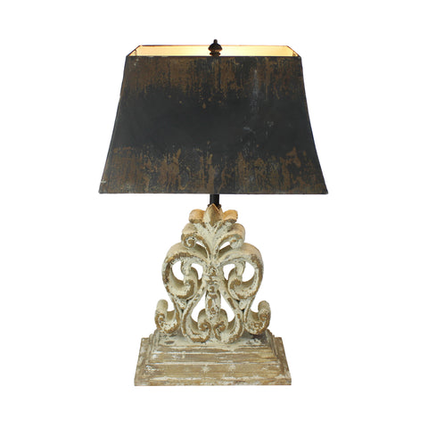Urban Designs Vintage Heavily Distressed Fir Wood Table Lamp