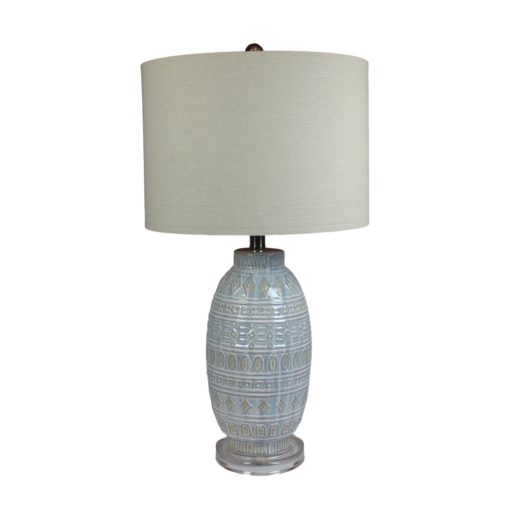 Urban Designs Rocco Grey Glazed Ceramic Handcrafted Table Lamp