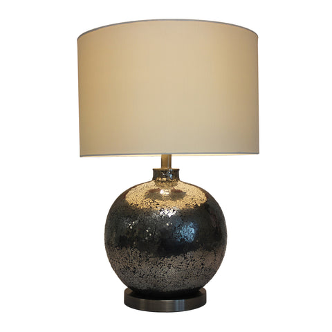 Urban Designs Euro Handcrafted Grey Cracked Glass Mosaic Table Lamp