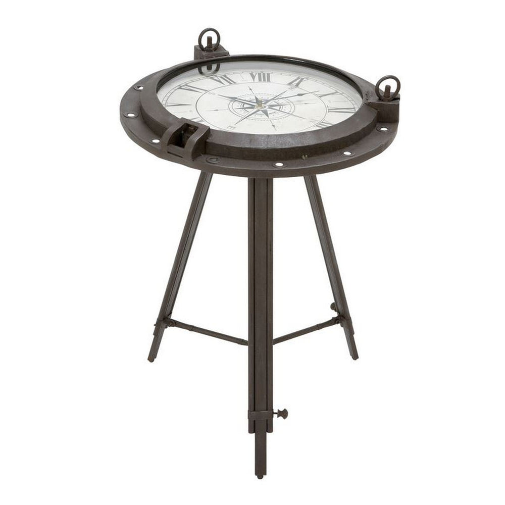 Urban Designs Industrial Metal Round Clock Coffee Table