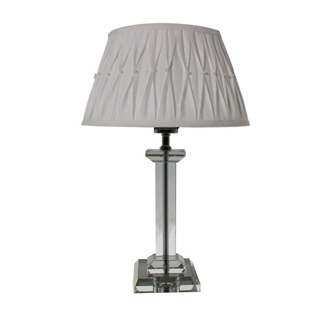 Urban Designs 18-Inch Square Crystal Glass and Round White Pearl Table Lamp
