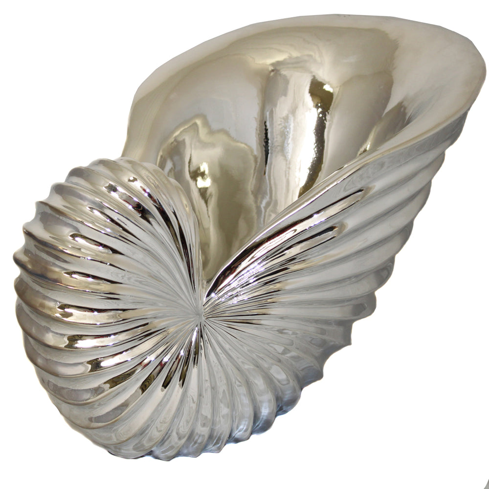 "Urban Designs 22"" Sea Shell Sculpture Bowl Table Accent Decor - Silver"