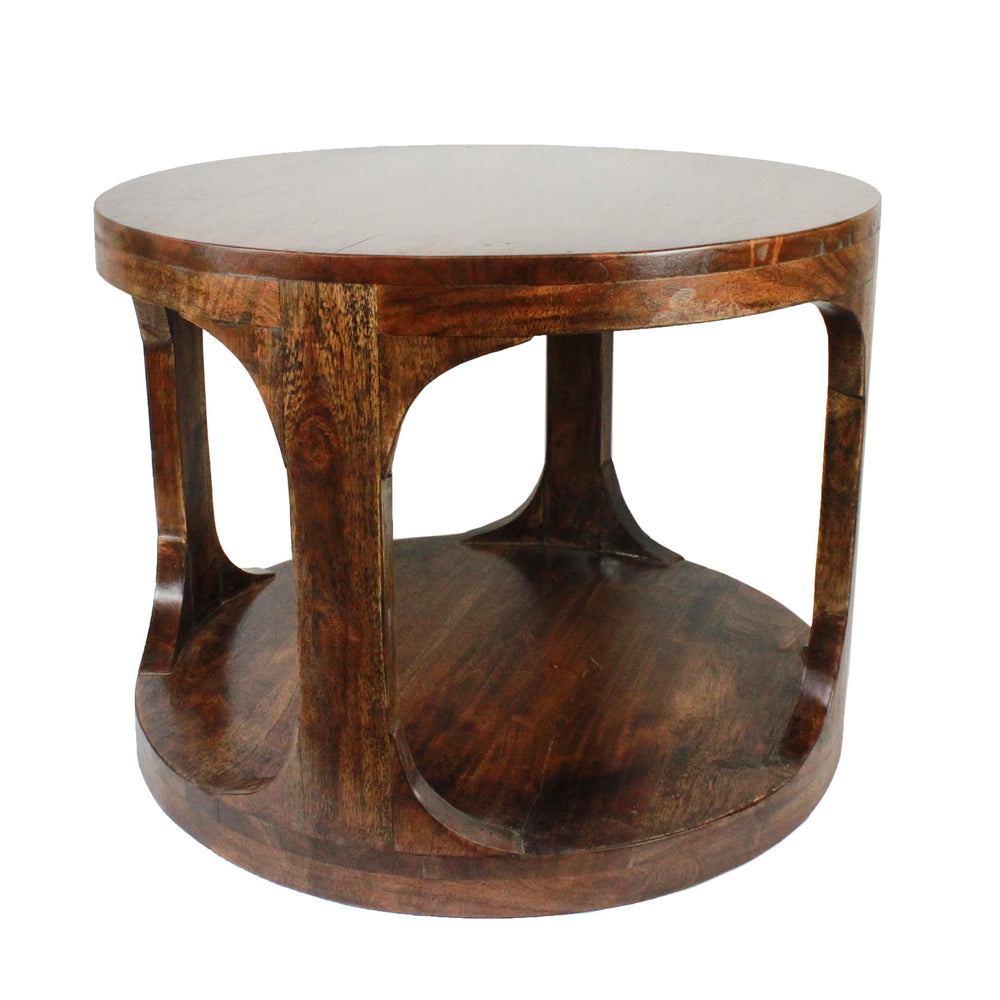 Urban Deisngs Aris Round Wooden Side Table with Shelf