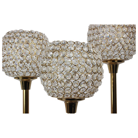 Urban Designs Lydia Handcrafted 3-Piece Aluminum Crystal Candle Holder Set - Gold