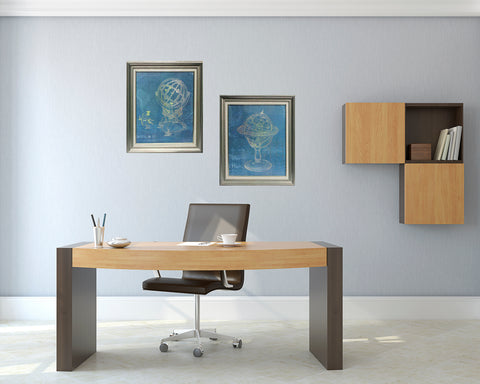 Urban Designs World Globe 2-Piece Home Office Framed Wall Art