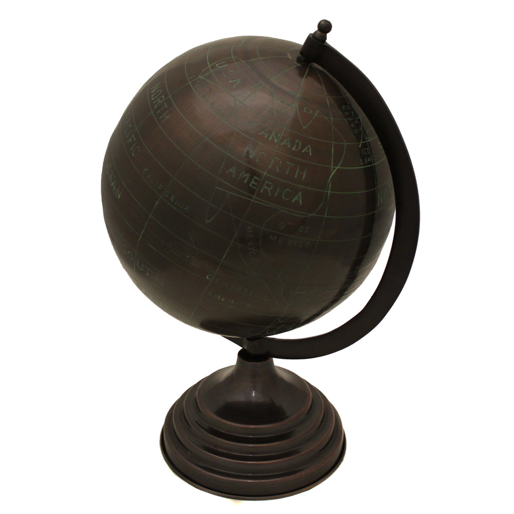 "Decorative Metal 19"" Tabletop Globe - Espresso"