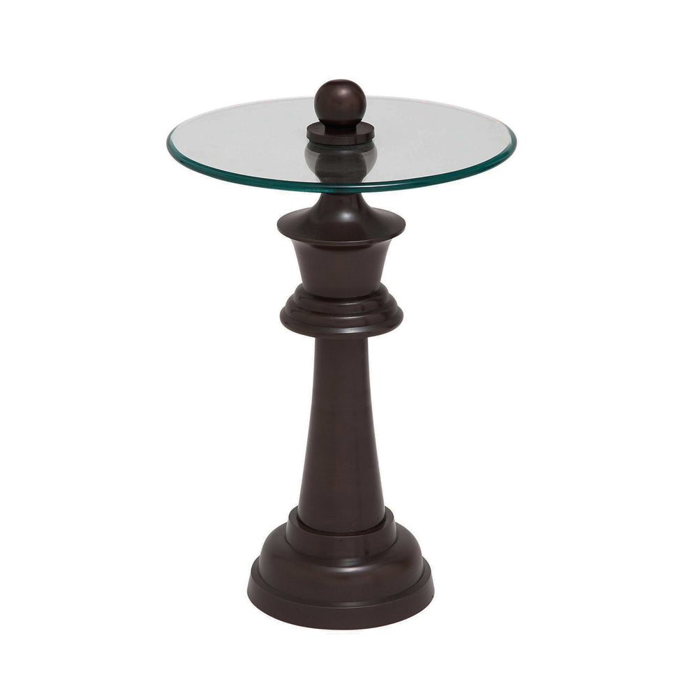 Urban Designs Queen Chess Piece Glass Top Accent End Table - Brown