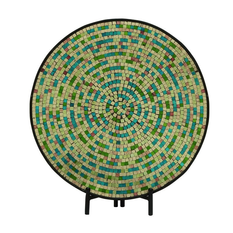 Urban Designs Decorative Handcrafted Mosaic Plate with Stand - Green