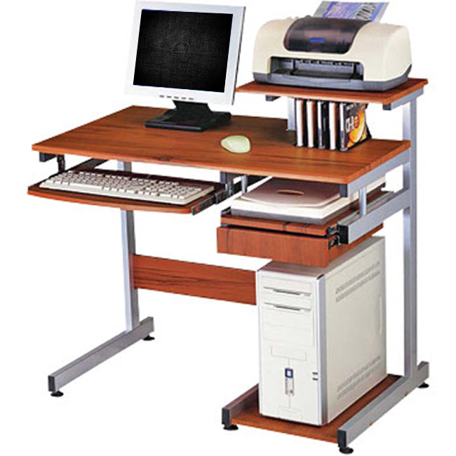 Deluxe Ergonomic Home-Office Computer Desk - Woodgrain