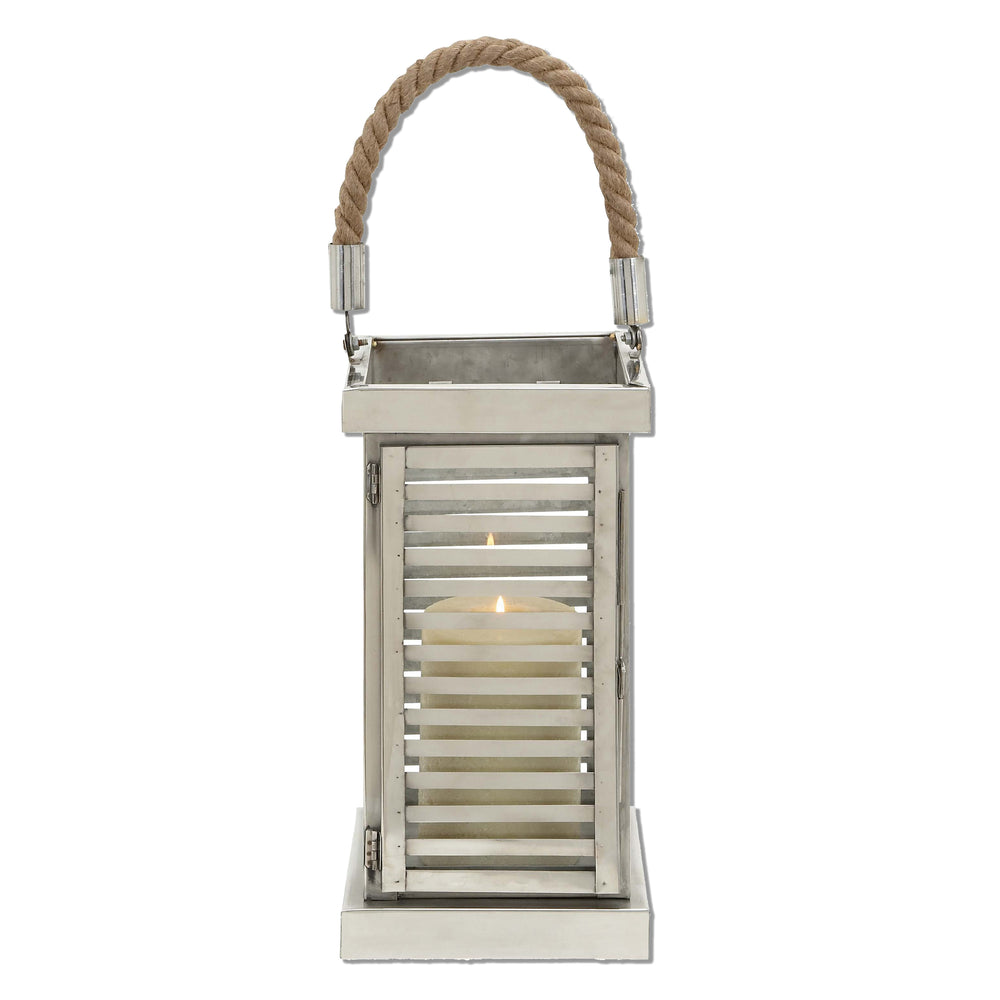 Urban Designs Stripe Stainless Steel Candle Holder Lantern