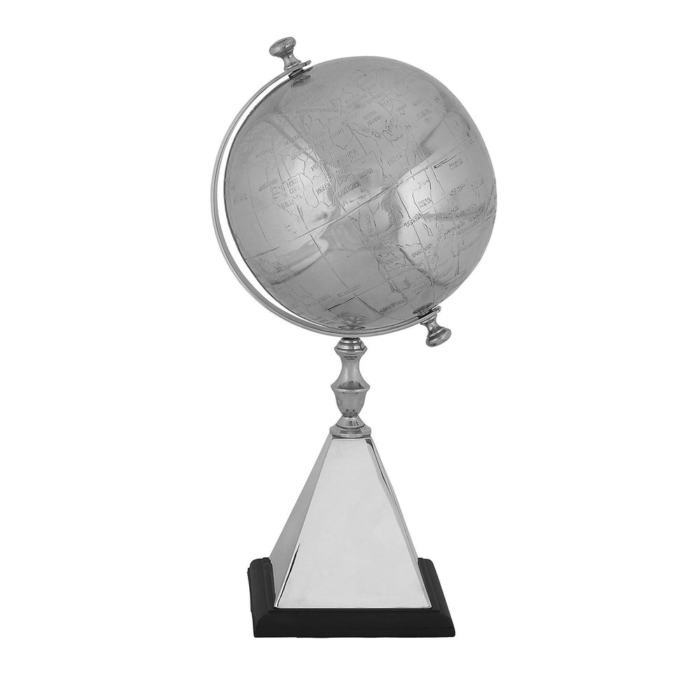 Mallus Classic 18-Inch Decorative Silver World Globe