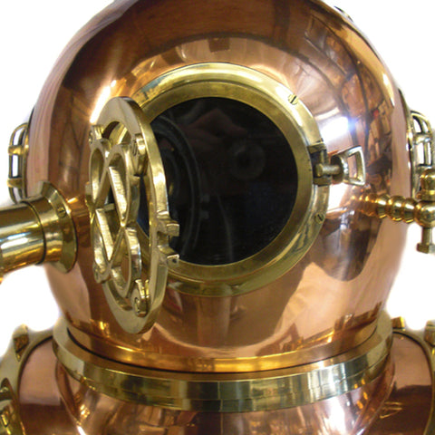 Urban Designs Full-Size Replica US Navy Mark V Brass Diving Helmet Copper Hat Wood Base