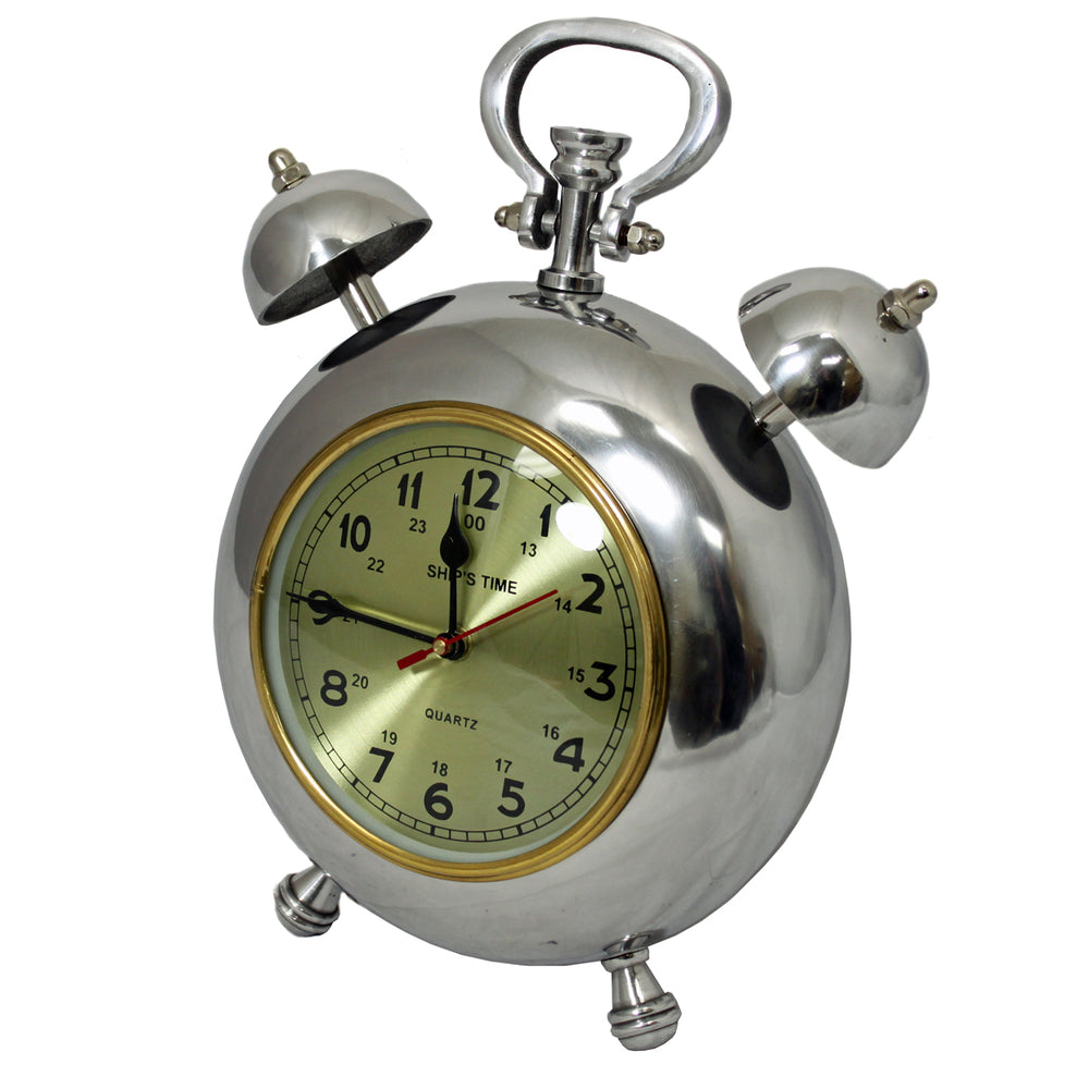 "Urban Designs Captain Ship's Time 12.5"" Polished Nickel Metal Table Clock"