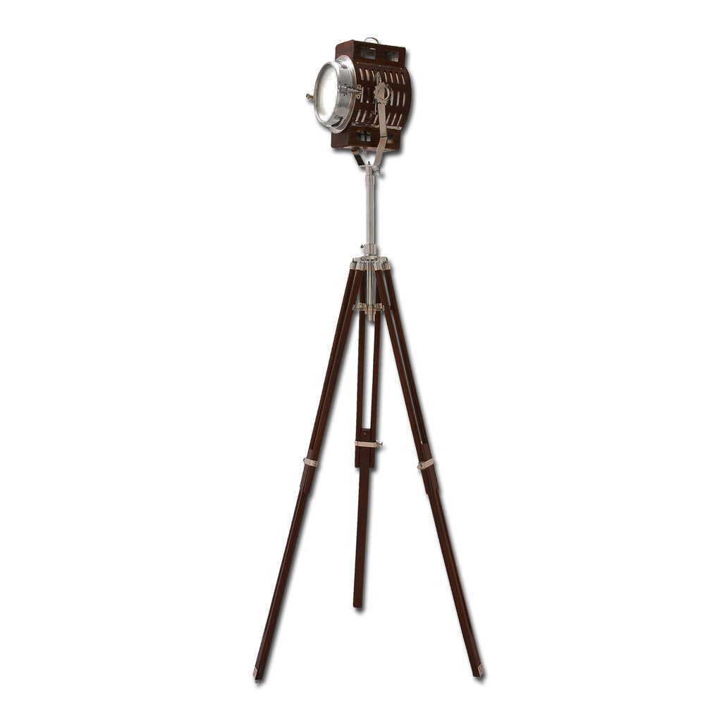 Urban Designs Wood Metal Spot Light Tripod Floor Lamp