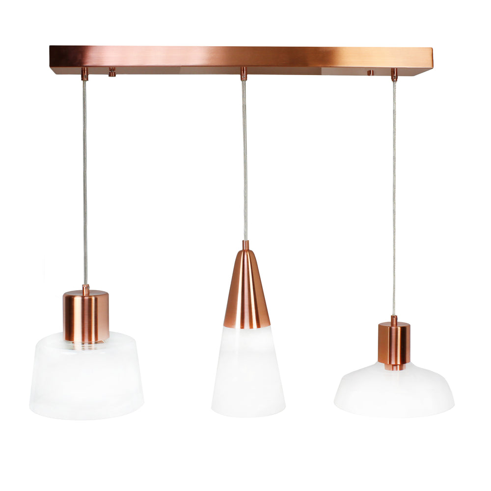 LightMakers Trinity Hanging Lamp with Glass and Rose Gold