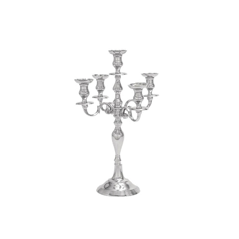 Urban Designs Excelsior Banquet 5-Arm Aluminum Candelabra Candle Holder - Silver