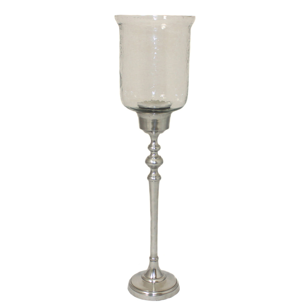 "Floor Standing 25"" Hurricane Pillar Candle Holder with Clear Glass Top"
