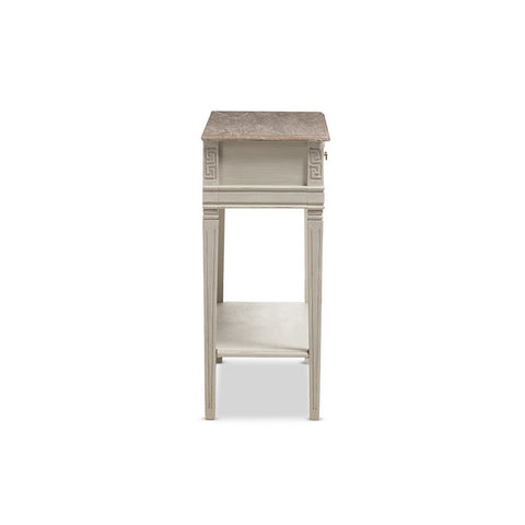 Urban Designs Weathered Oak White Wash Distressed Finish Wood Two-Tone Table