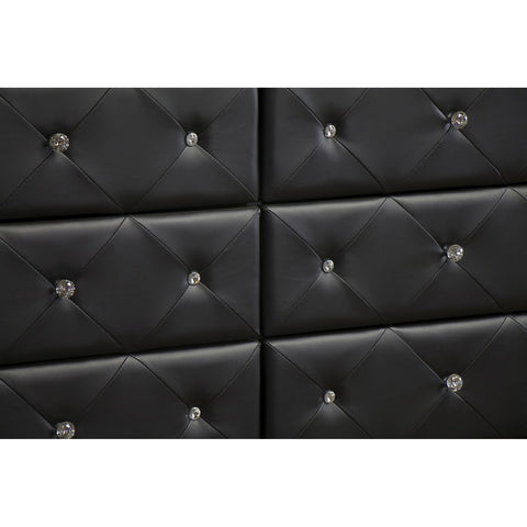 Urban Designs Luminescence Black Faux Leather Upholstered Dresser