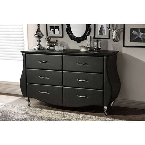 Urban Designs Enzo Modern and Contemporary Black Faux Leather 6-Drawer Dresser