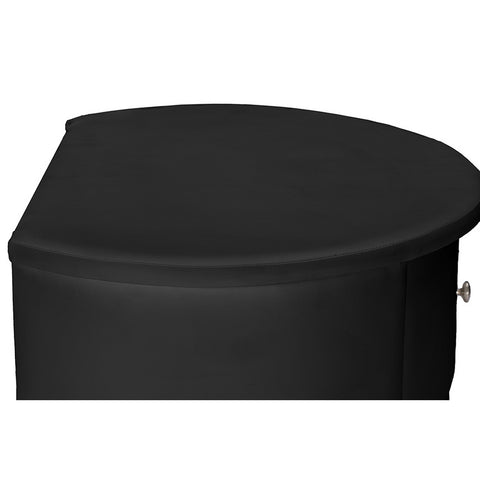 Urban Designs Ritchie Black Faux Leather Oval Upholstered Modern Nightstand