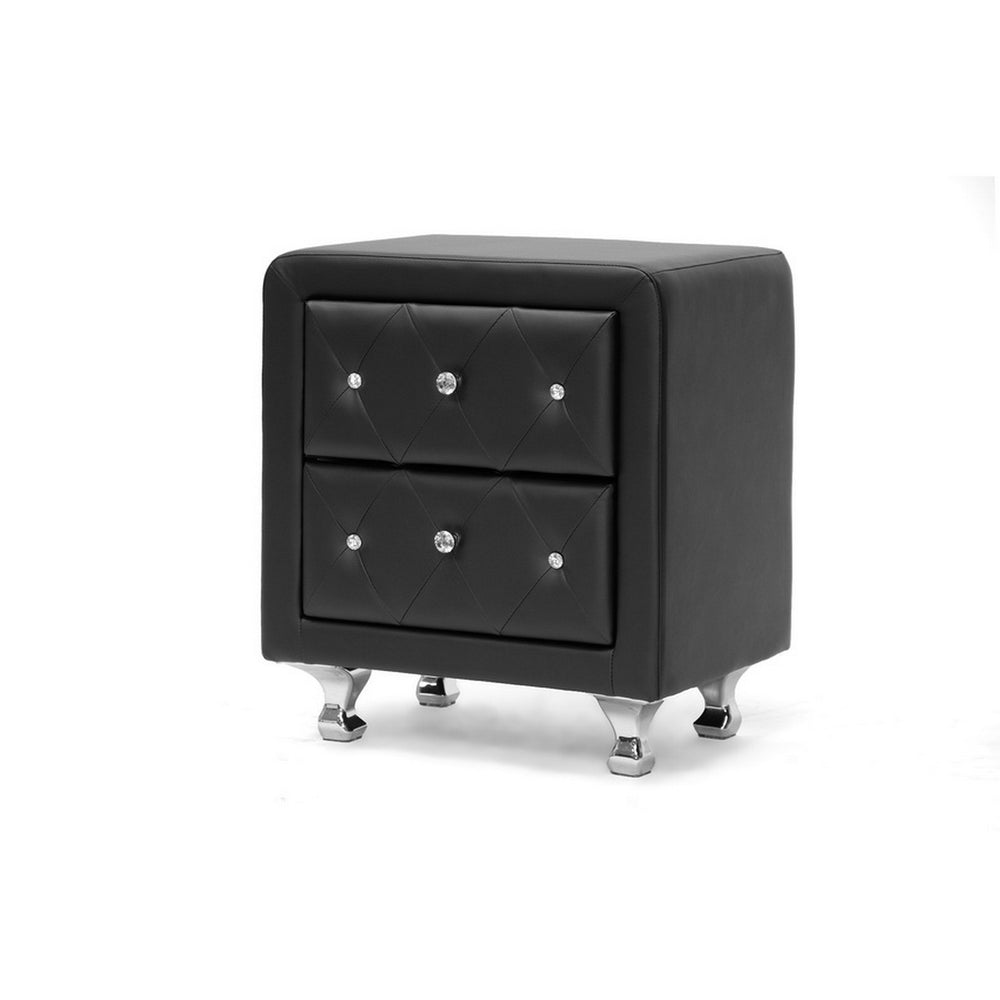 Urban Designs 24-Inch Crystal Tufted Black Upholstered Modern Nightstand