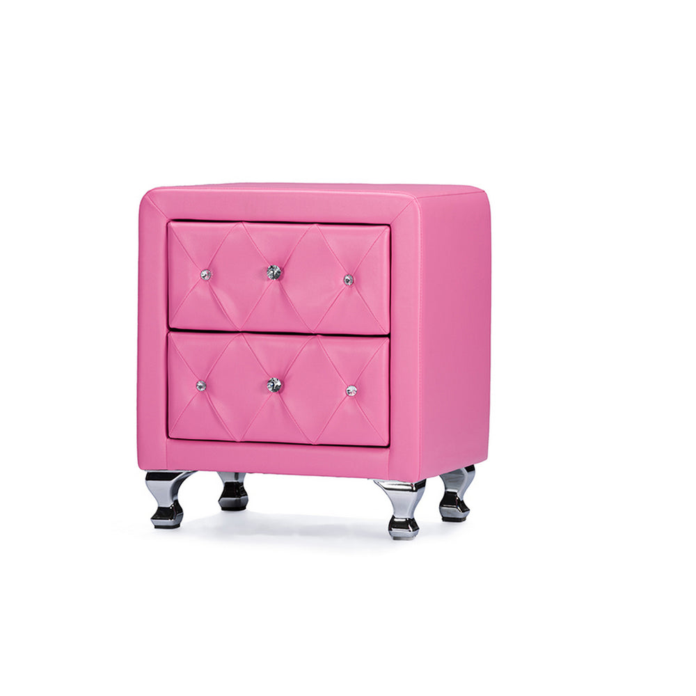 Urban Designs Stella Crystal Tufted Pink Leather Modern Nightstand