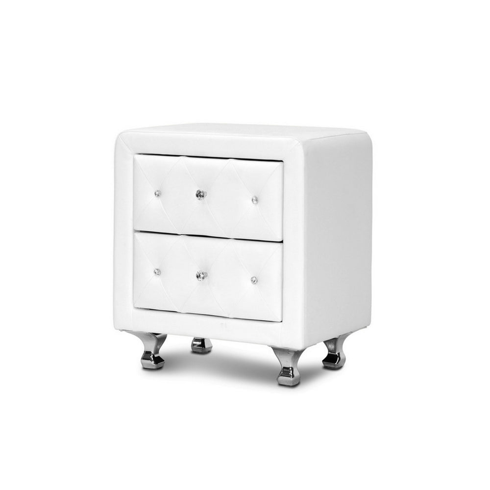 Urban Designs 24-Inch Crystal Tufted White Upholstered Modern Nightstand