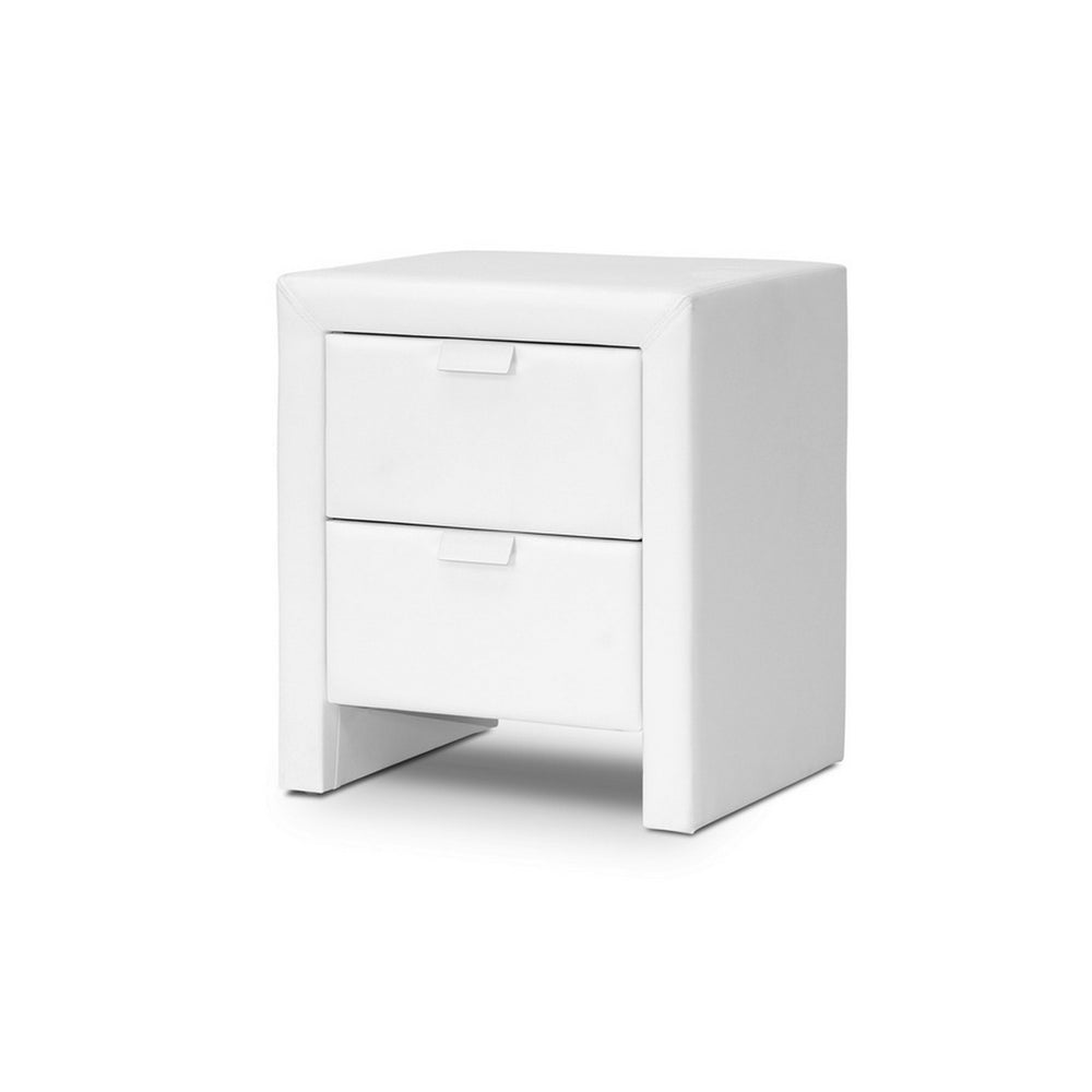 Urban Designs 22-Inch Frey White Upholstered Modern Nightstand