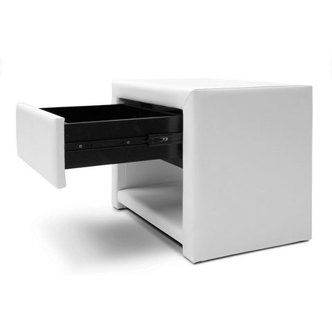 Urban Designs 16-Inch Massey White Upholstered Modern Nightstand