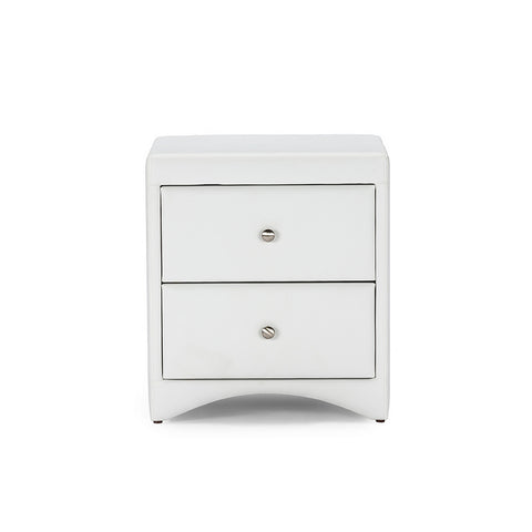 Urban Designs Dorian White Faux Leather Upholstered Modern Nightstand