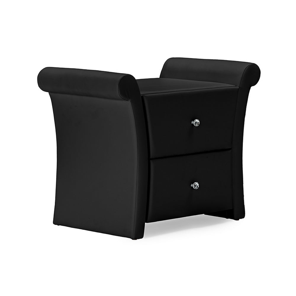 Urban Designs Victoria Matte Black Leather 2 Storage Drawers Bedside Table