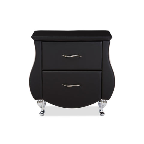 Urban Designs Erin Modern Black Faux Leather Upholstered Nightstand