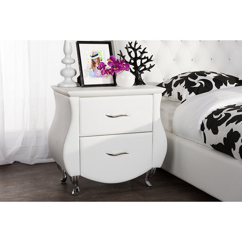 Urban Designs Erin Modern White Faux Leather Upholstered Nightstand