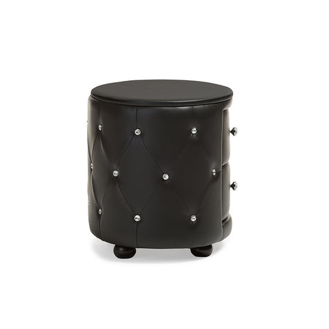 Urban Designs Davina Oval 2-drawer Black Faux Leather Nightstand