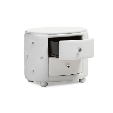 Urban Designs Davina Oval 2-drawer White Faux Leather Nightstand