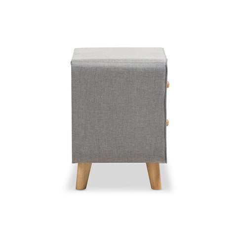 Urban Designs Jonesy Mid-Century Grey Fabric Upholstered 2-Drawer Nightstand
